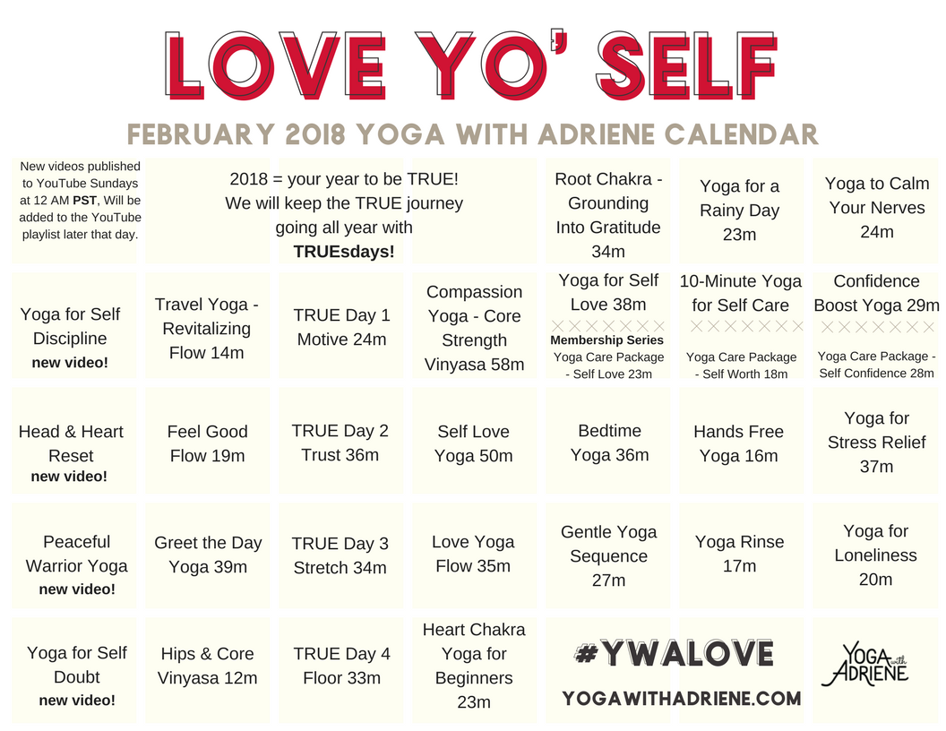 Adriene February 2019 Calendar Love Yo' Self   Feb 2018 Yoga Calendar | Yoga With Adriene