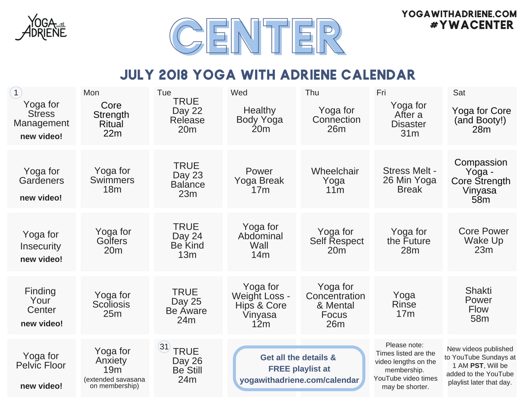 July 2018 YWA yoga calendar | Yoga With Adriene