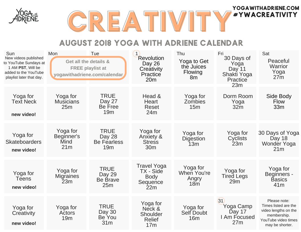 august 2018 ywa yoga calendar