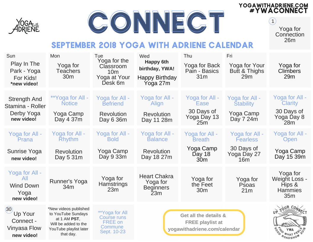 september 2018 ywa yoga calendar yoga with adriene