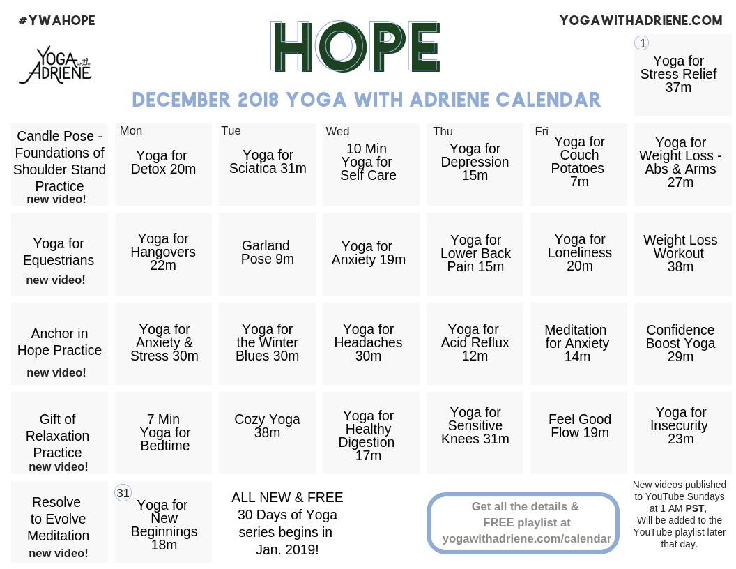 Adriene February 2019 Calendar December 2018 YWA yoga calendar | Yoga With Adriene