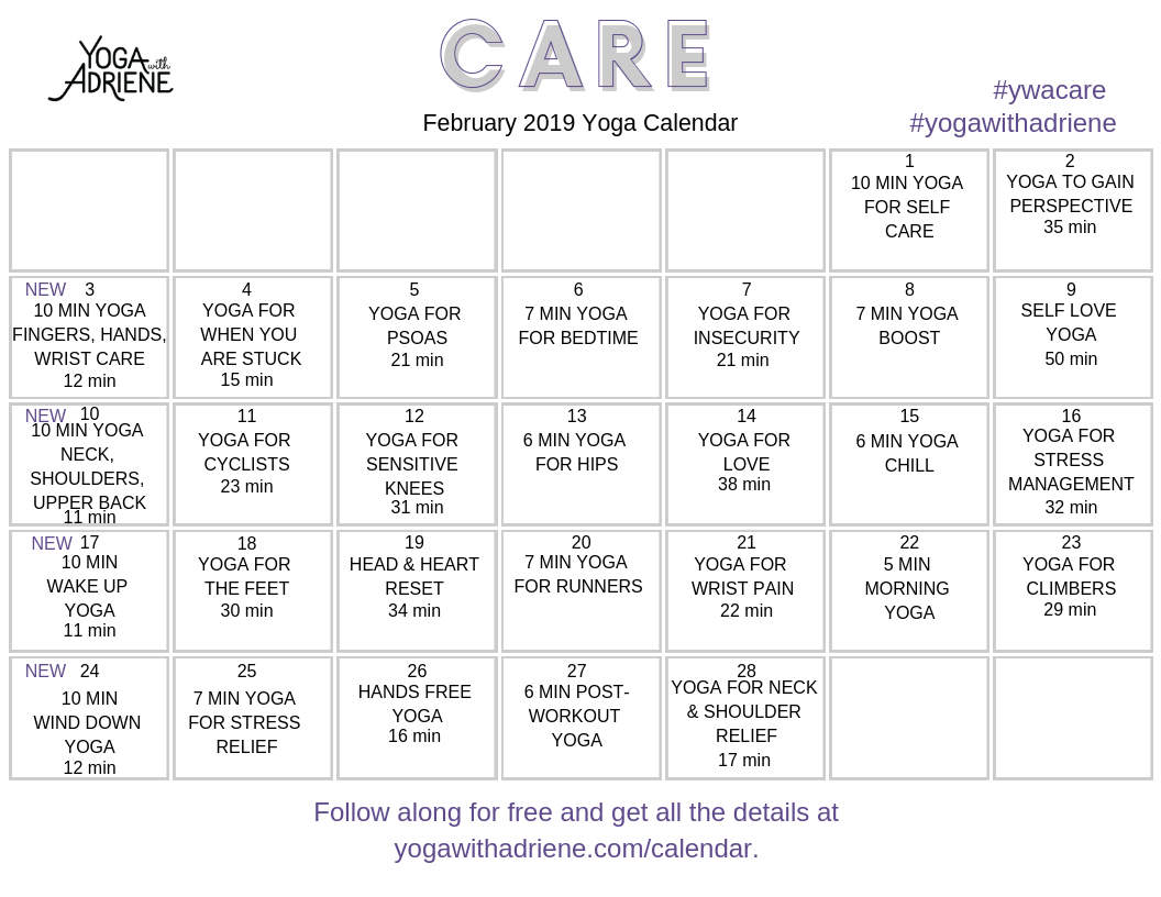 Adriene February 2019 Calendar February 2019 Yoga Calendar | Yoga With Adriene