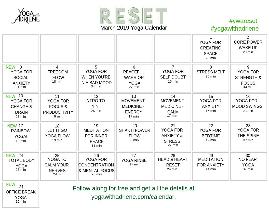 March 2019 Yoga Calendar – RESET