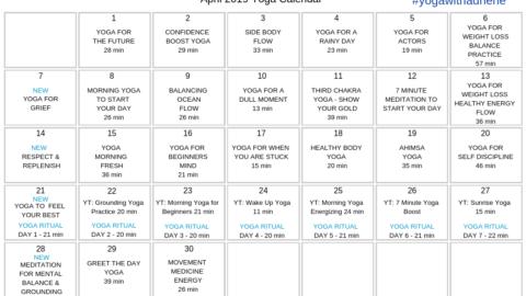 April 2019 Yoga Calendar – ACT