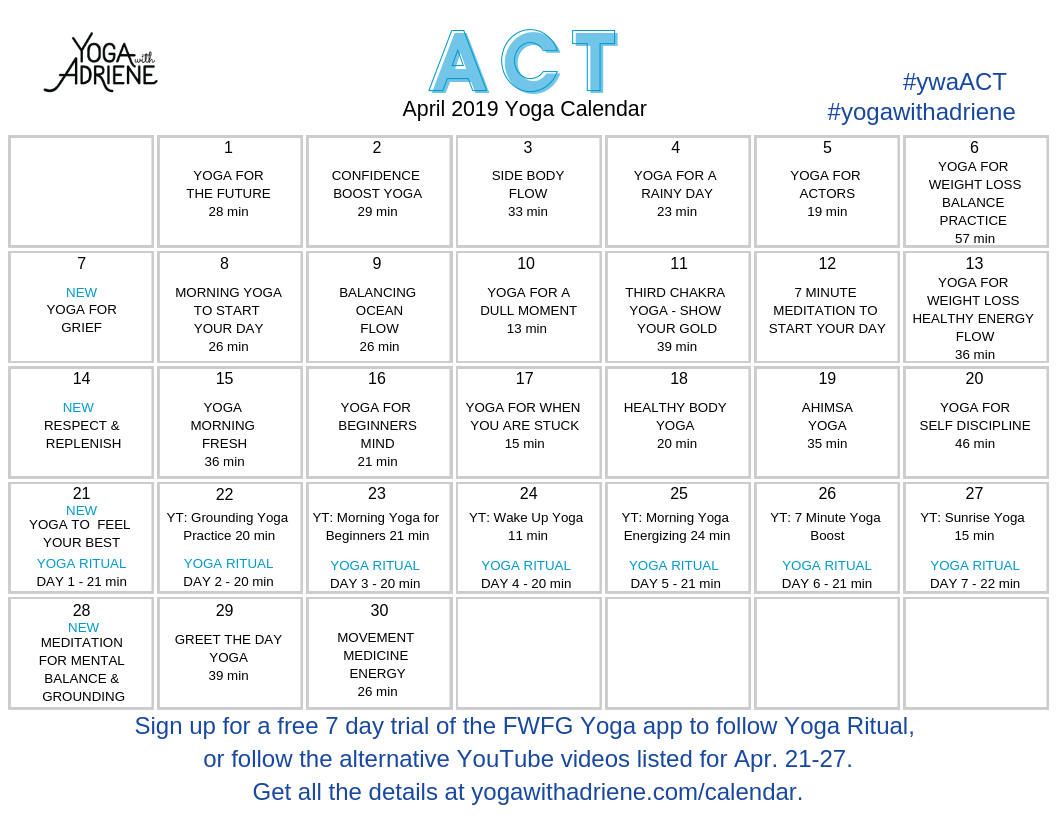 Act Calendar 2019 April 2019 Yoga Calendar   ACT | Yoga With Adriene