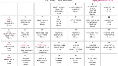 May 2019 Yoga Calendar – OPEN
