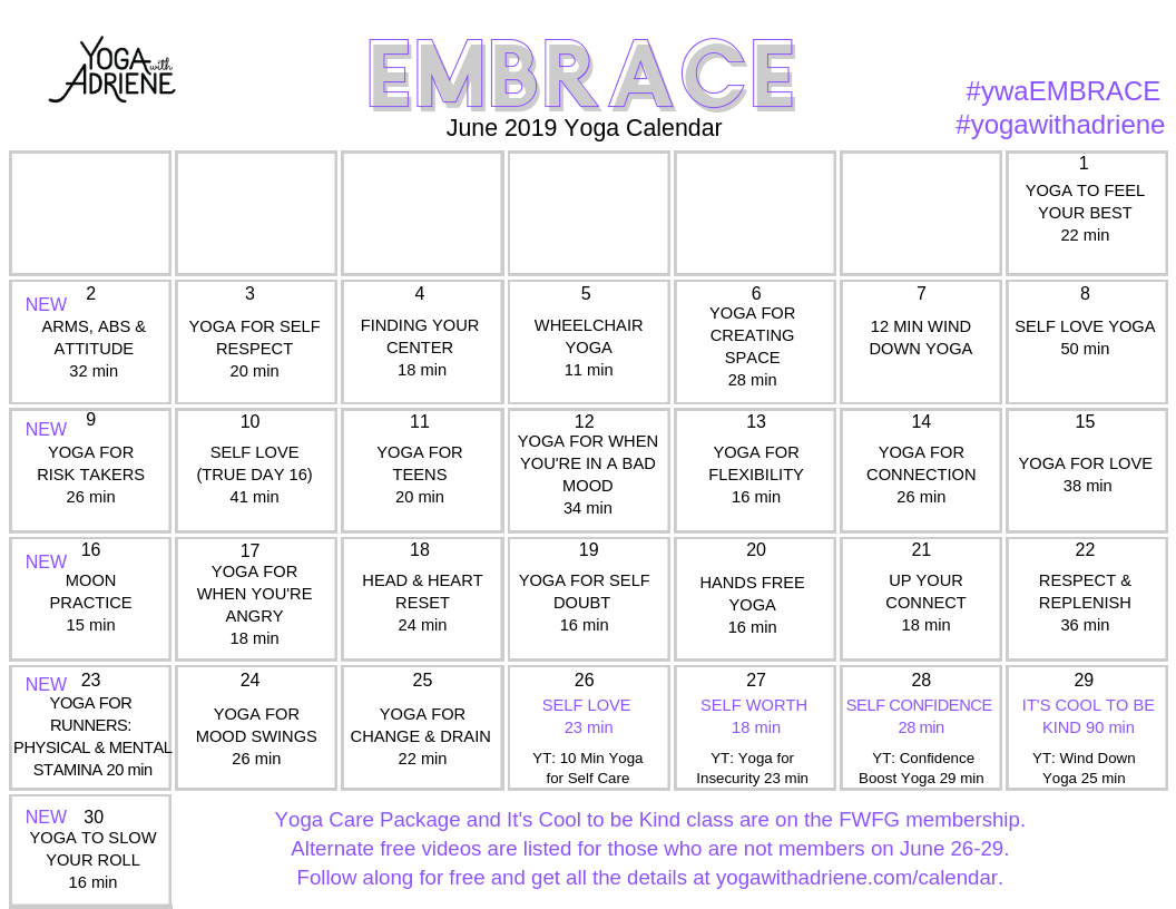 June 2019 Yoga Calendar Embrace Yoga With Adriene