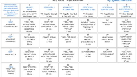 July 2019 Yoga Calendar – POWER