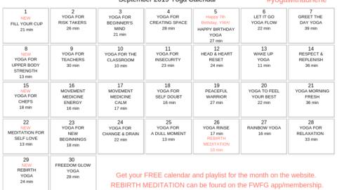 September 2019 Yoga Calendar – REBIRTH