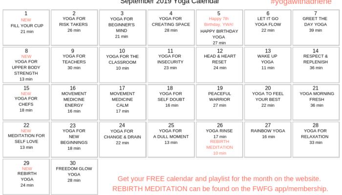 Yoga with Adriene September yoga calendar