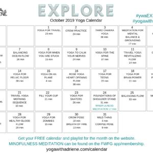 October 2019 Yoga Calendar – EXPLORE