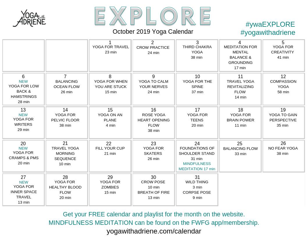 Yoga with Adriene October 2019 free yoga calendar image