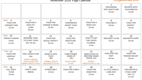 November 2019 Yoga Calendar – LIVING GRATEFUL