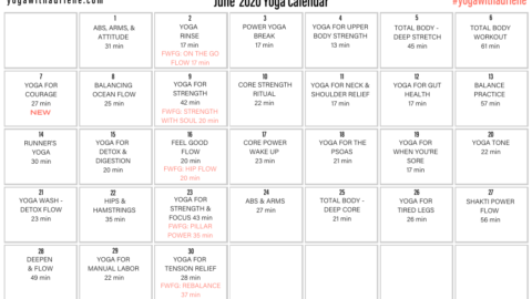 June 2020 Yoga Calendar – COURAGE