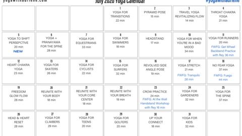 July 2020 Yoga Calendar – SHIFT
