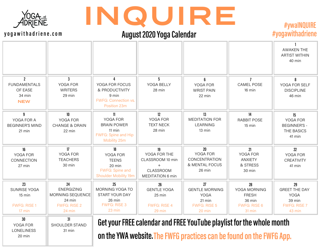 August 2020 Yoga Calendar Inquire Yoga With Adriene