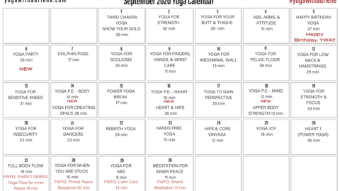 September 2020 Yoga Calendar – BUILD