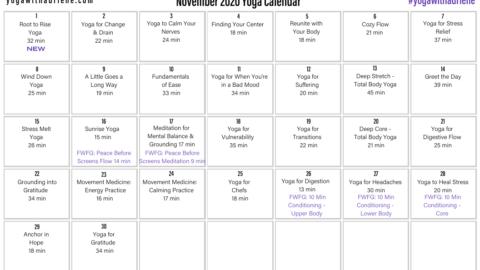 November 2020 Yoga Calendar – GROUND