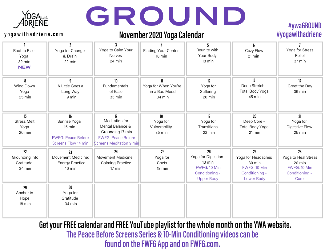 November 2020 Yoga Calendar Ground Yoga With Adriene