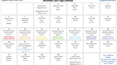 December 2020 Yoga Calendar – HONOR