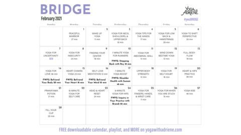 February 2021 Yoga Calendar – BRIDGE